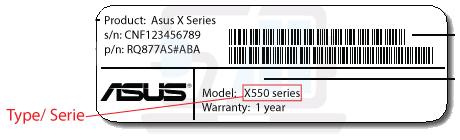 Serienummer type Asus toetsenbord