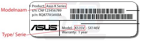De modelnaam/ typenummer van uw Asus laptop vinden