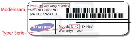 welke samsung laptop heb ik? model, type, kijk onderop uw Samsung laptop