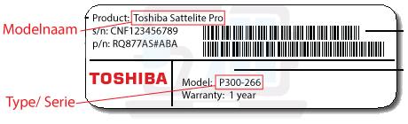 welke Toshiba laptop heb ik? model, type, kijk onderop uw Toshiba laptop